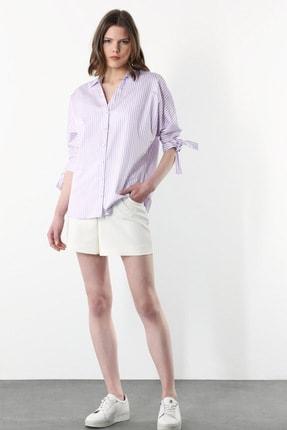 Network Kadın Basic Fit Mor Beyaz Çizgili Gömlek 1079514