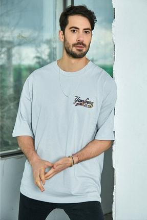 Sateen Men Erkek Açık Gri Baskılı T-Shirt