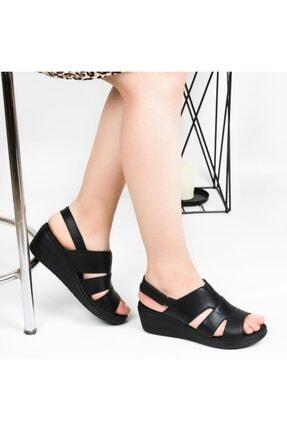 Pandora Kadın Siyah Ortopedik Deri Günlük Sandalet Hs01