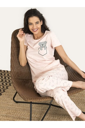 NBB Kadın Pembe Koala Desenli Pijama Takım 67135