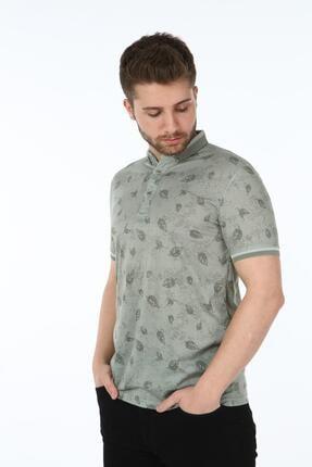 Çizgi Triko Erkek Haki  Dijital Baskı Yaprak Desenli Slim Fit Polo Yaka T-shirt