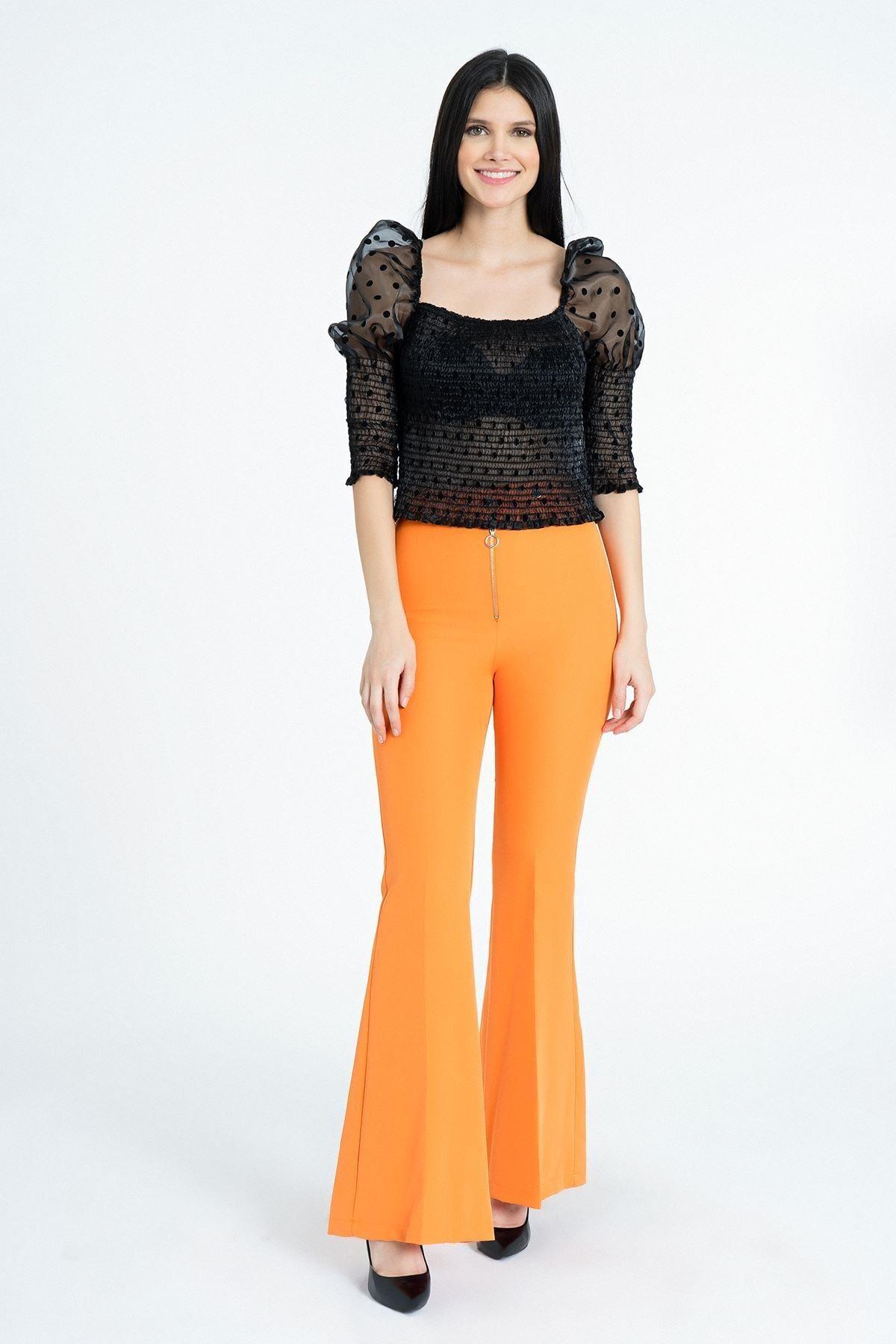 MissVina Kadın Oranj Metal Fermuarlı İspanyol Paça Pantolon Y3679 2