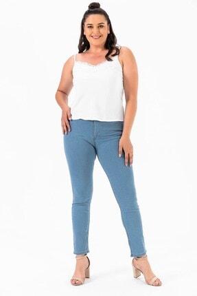 By Saygı Yüksek Bel Bilek Kot Pantolon Mavi