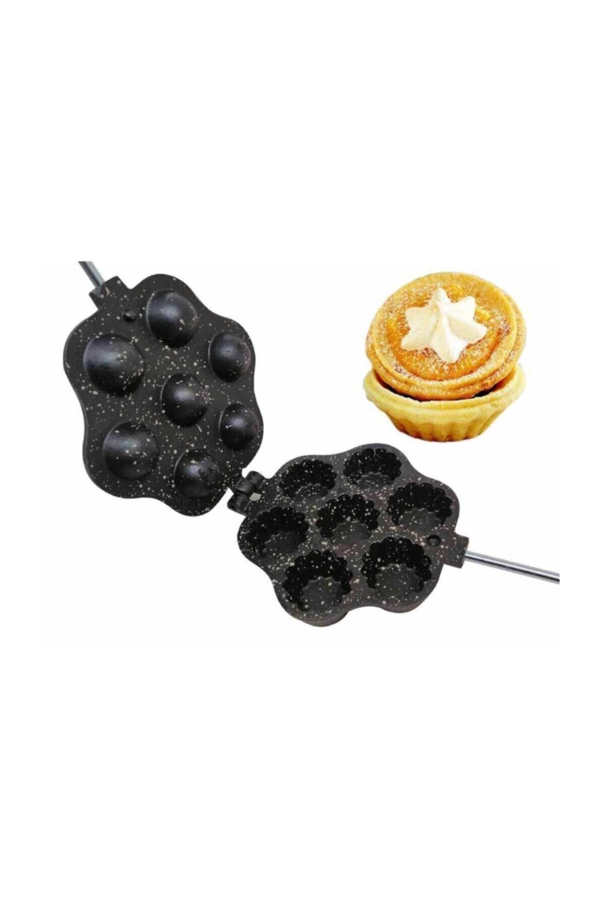 KARADAĞ METAL Tartolet Döküm Kurabiye Kalıbı Granit Kaplama + Metal Pasta Kazıyıcı 10 Cm 1