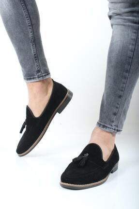 Oksit Erkek Siyah Hyman Püskülü Loafer Ayakkabı