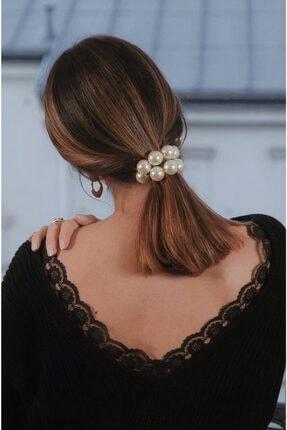 H&E DESIGN Kadın Pearls Inci Esnek Saç Tokası
