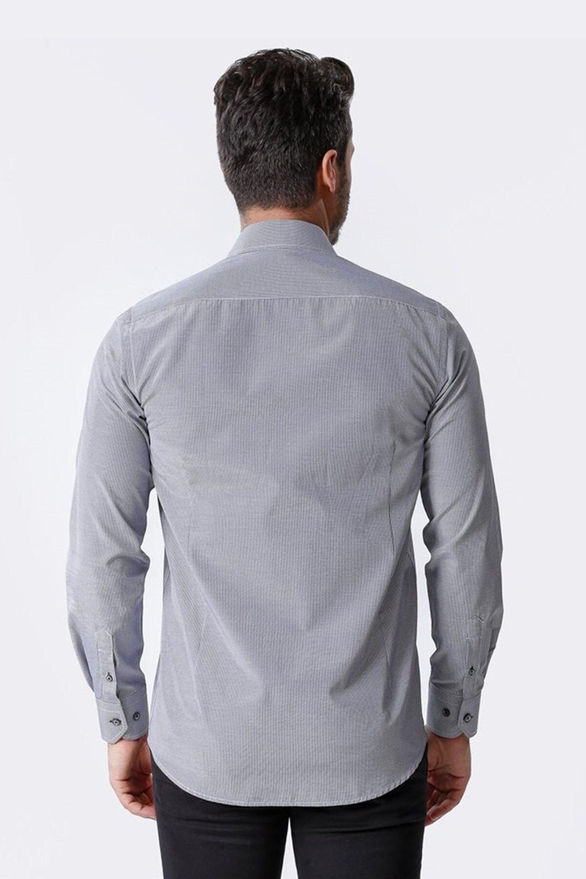 Ottomoda Uzun Kollu Kareli Erkek Gömlek Siyah-beyaz 2