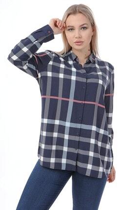 Big Free Tb21kb034554 Lacivert Kadın Geniş Kare Desenli Gömlek