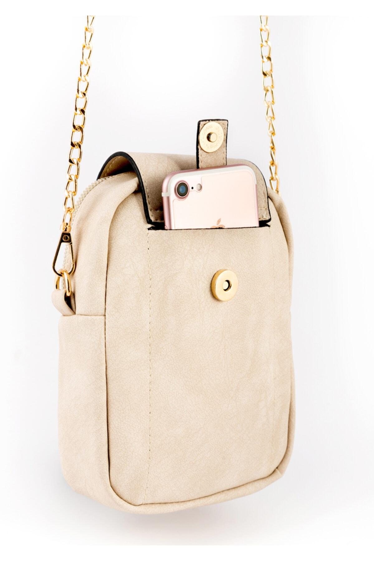 BAGzy Kadın Pudra Telefon Bölmeli Gold Detaylı Omuz Çantası 2