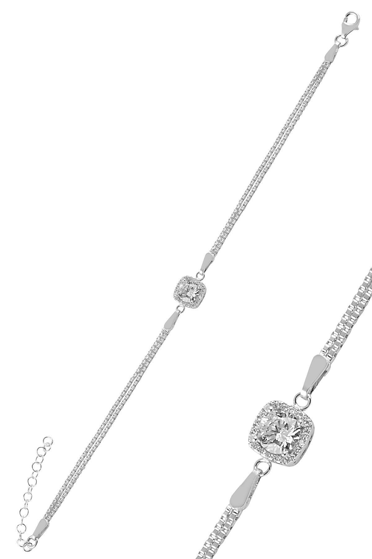 Söğütlü Silver Gümüş Zirkon Taşlı Pırlanta Montürlü Kare  Gümüş Bileklik