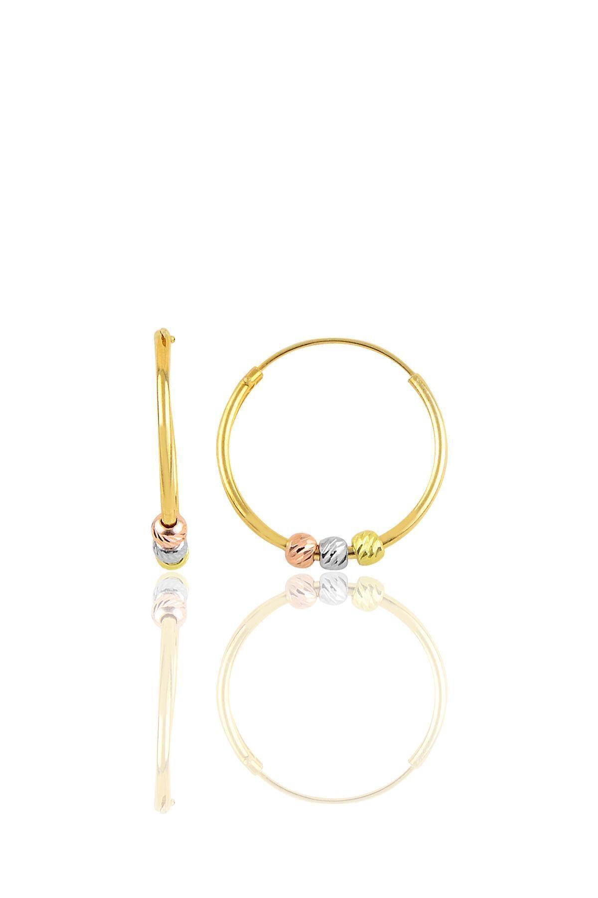 Söğütlü Silver Gümüş Altın Yaldızlı 18 Mm Renkli Doricalı Halka Küpe