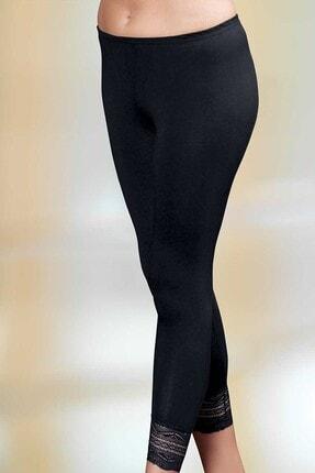 Şahinler Kadın Siyah Paçası Dantelli Uzun Tayt Mb888-Sh
