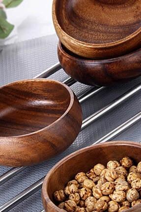 3ER Bambu Yuvarlak Çerezlik 4 Parça