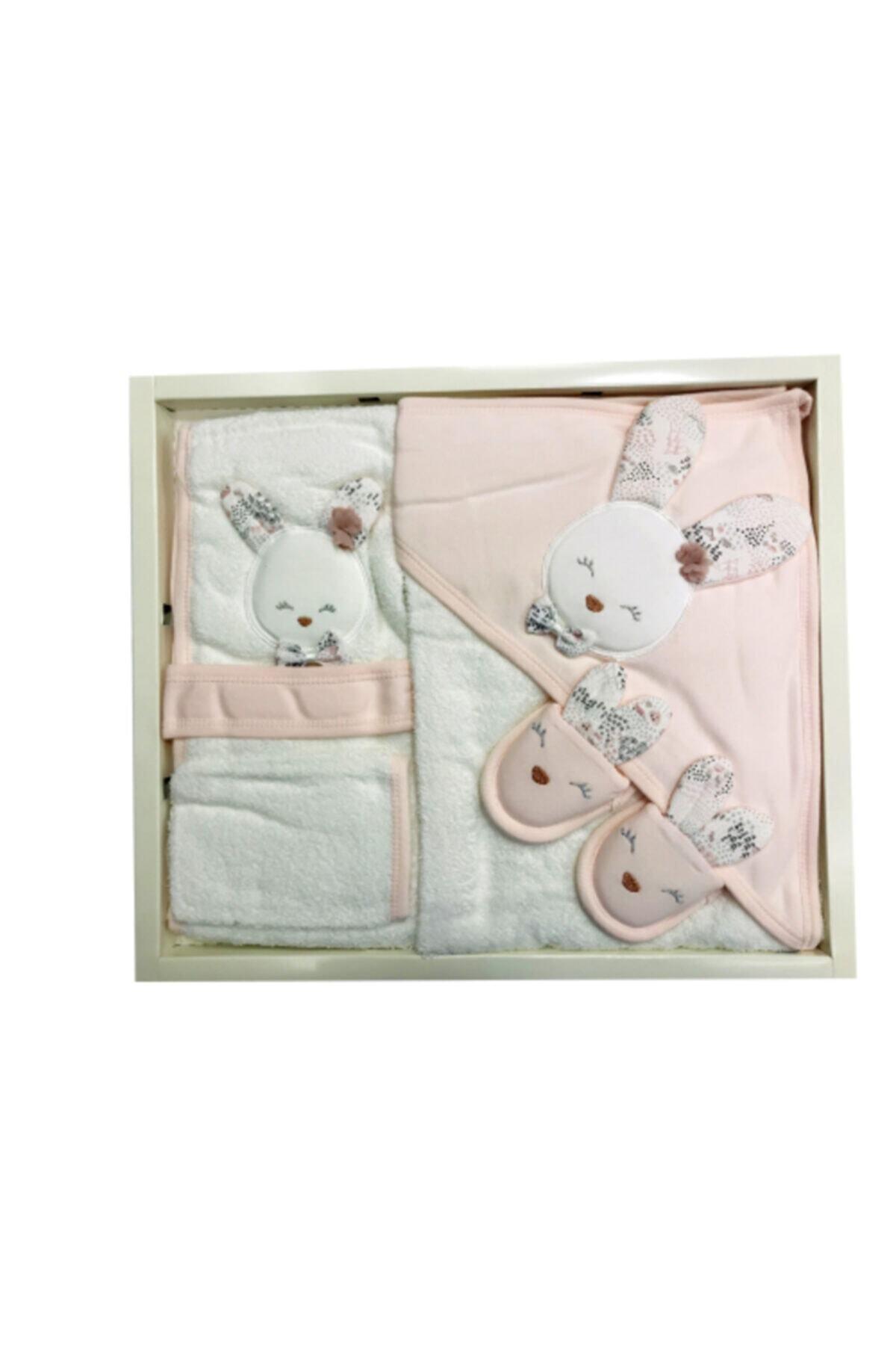 Gaye Bebe Kız Bebek Somon Papyonlu Tavşan Bornoz Seti 1