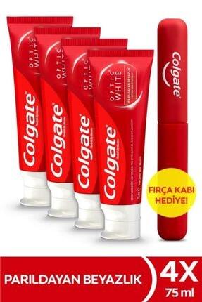 Colgate Optic White Parıldayan Beyazlık Beyazlatıcı Diş Macunu 75 ml X 4 Adet Fırça Kabı Hediye