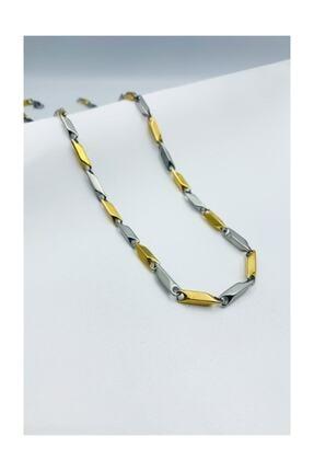 Aksesuarmax Sarı Gri Çizgili Kararmaz Çelik Zincir