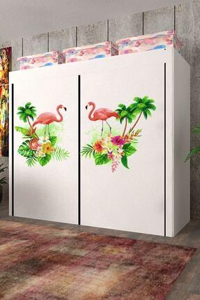 CimriKese Flamingo Desen Geniş Hacimli Çift Askılı Bez Bez Dolap