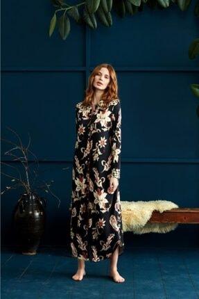 Penyemood Kadın Siyah Çiçek Desen Elbise 8918