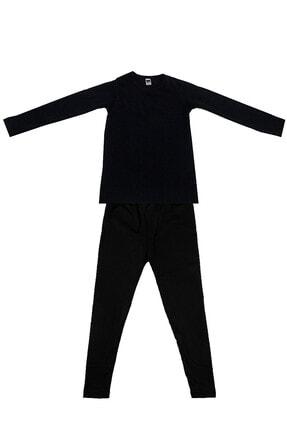 Tutku Çocuk Siyah Uzun Kol Viskon Şardonlu Takım Termal Giyim & Içlik