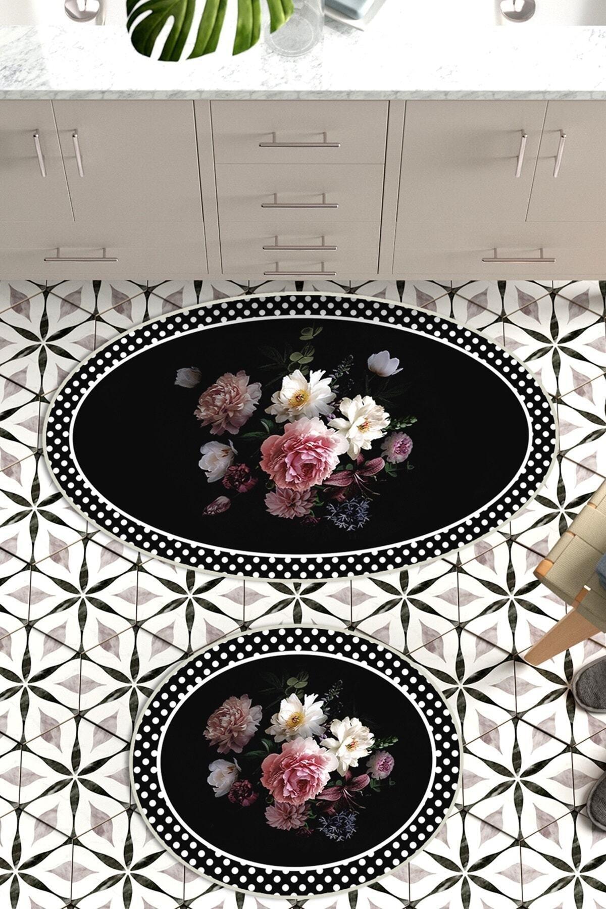 colizon 60x90 - 50x60 Rose&Black Banyo Halısı Oval Klozet Takımı 2'li Paspas Seti 1