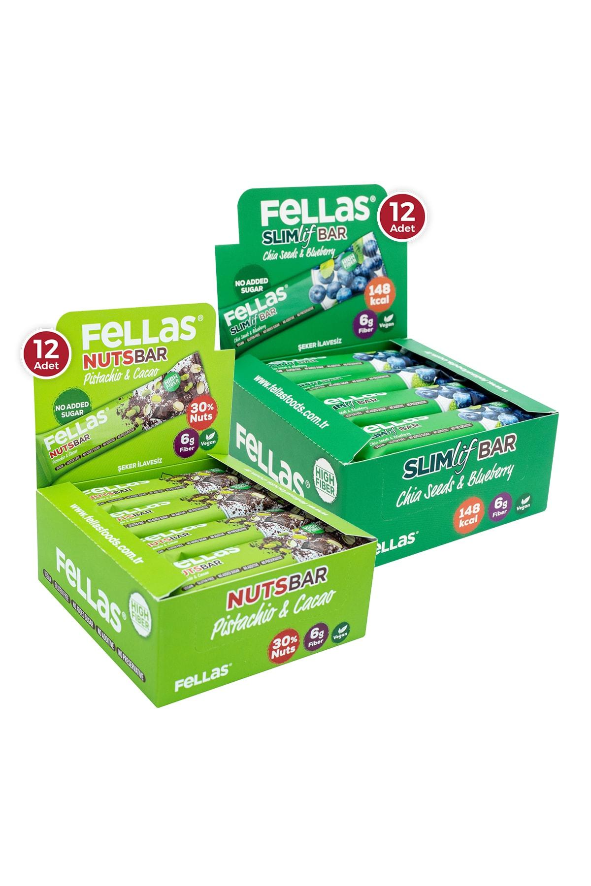 Fellas Meyve Bar 40 G Süper Ikili Kutu 24 Adet - Antep Fıstıklı X 12 Adet + Yaban Mersini X 12 Adet 1