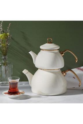 Karaca Retro Emaye Krem Çaydanlık