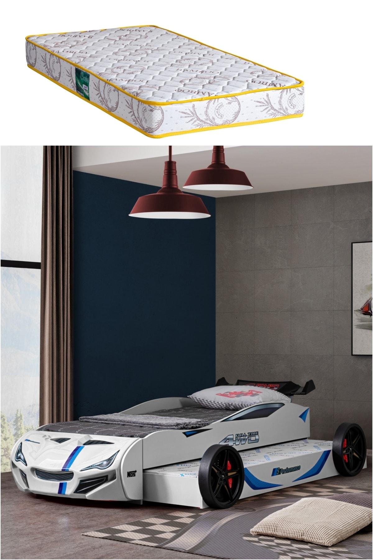 Setay Beyaz Merso Yavrulu Rüzgarlıklı Araba Yatak + Comfort Yatak 1