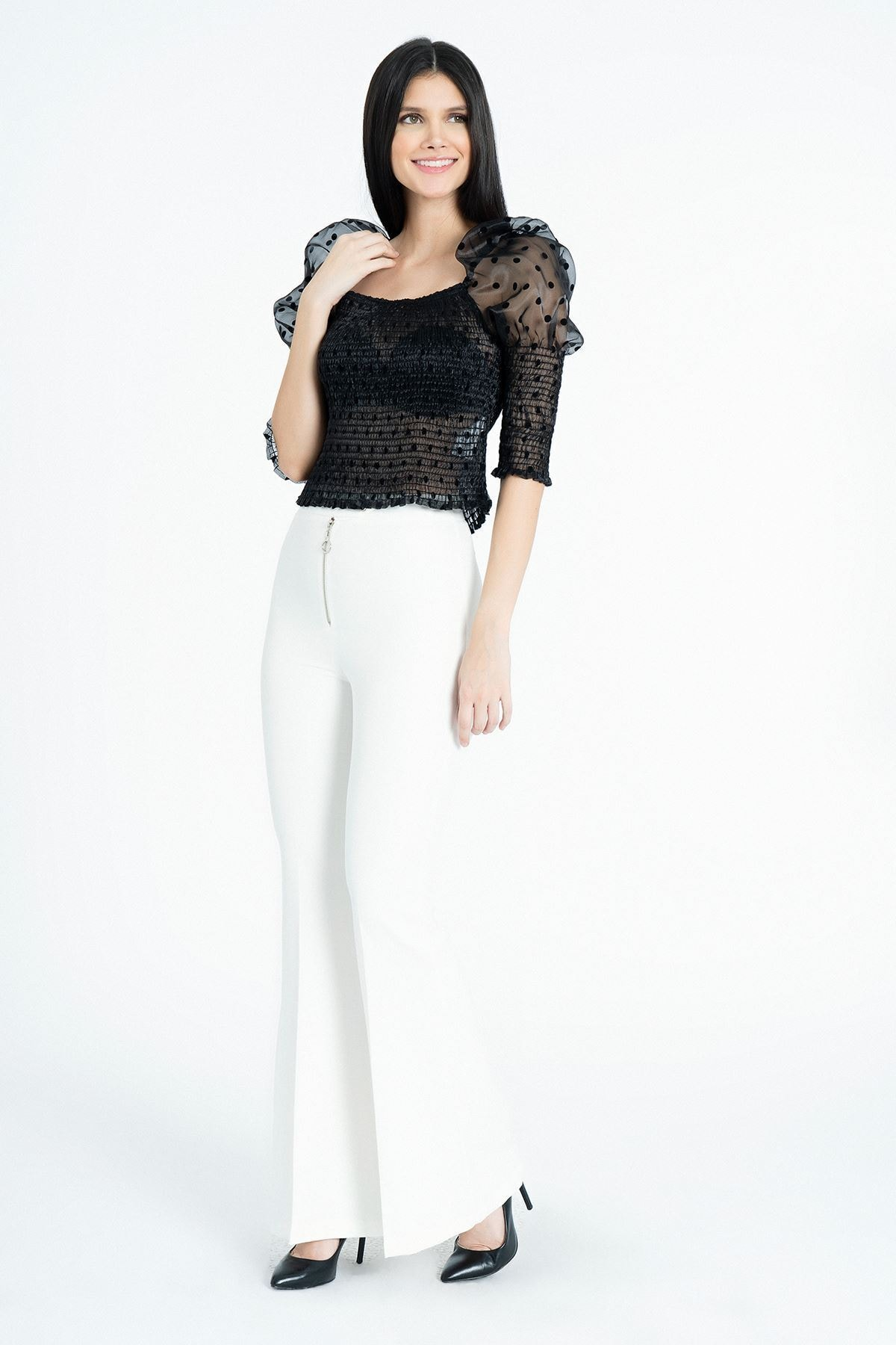 MissVina Kadın Ekru Metal Fermuarlı İspanyol Paça Pantolon Y-3679 2