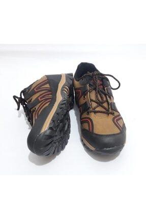 GEZER Unisex Kahverengi Kırmızı Çizgili Kışlık Kaydırmaz Ayakkabı Bot