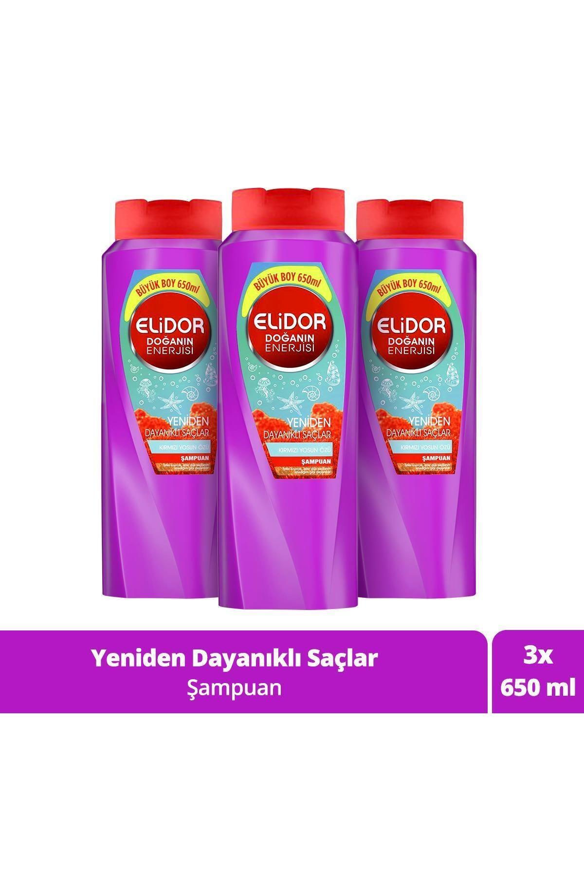 Elidor Doğanın Enerjisi Yeniden Dayanıklı Saçlar Kırmızı Yosun Özlü Saç Bakım Şampuanı 650 ml X3 1
