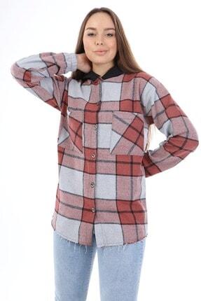 Big Free Kadın Kiremit Ekose Kapüşonlu Kol Lastik Oduncu Gömlek Tb21kb038216