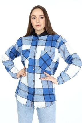 Big Free Kadın Saks Ekose Kapüşonlu Kol Lastik Oduncu Gömlek Tb21kb038216