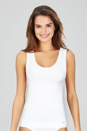 Kom Kadın Beyaz Basic Singlet Atlet Likralı 6363