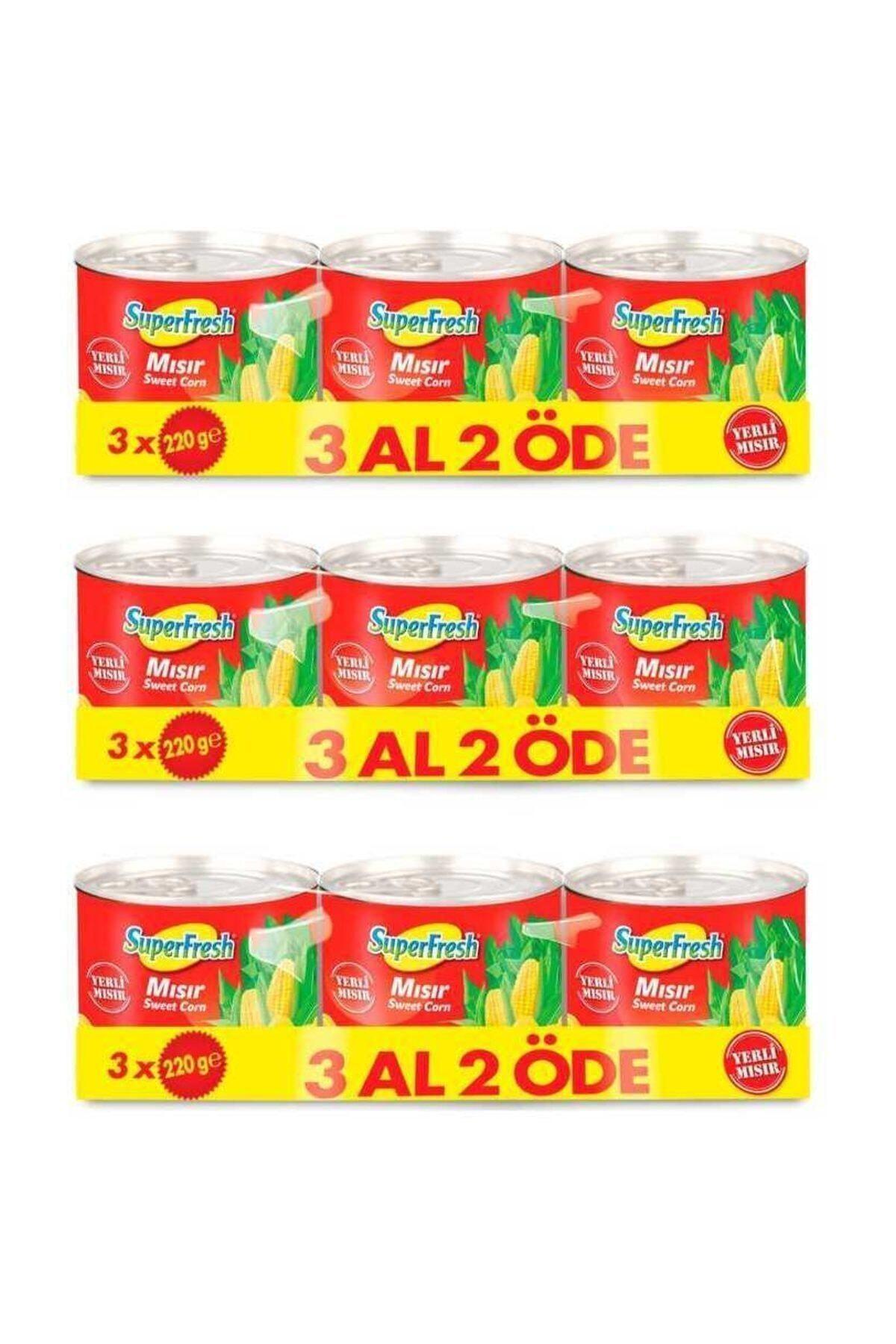 SuperFresh Mısır Konserve 220 gr X 3 Adet X 3 Paket 1