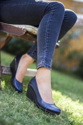 Deripabuc Hakiki Deri Lacivert Kadın Dolgu Topuklu Deri Ayakkabı Trc-0274