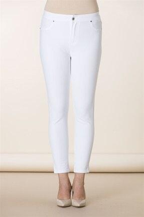 RMG Kadın Beyaz Cep Detaylı Büyük Beden Pamuk Pantolon