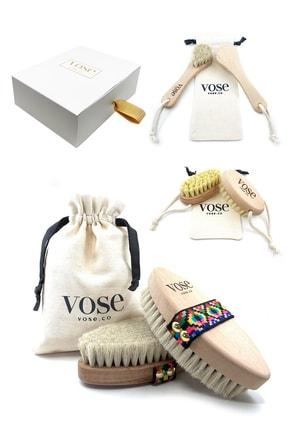 Vose 3' Lü Set Doğal At Kılı Selülit Fırçası (Tulip) + Yüz Fırçası + Tırnak Fırçası