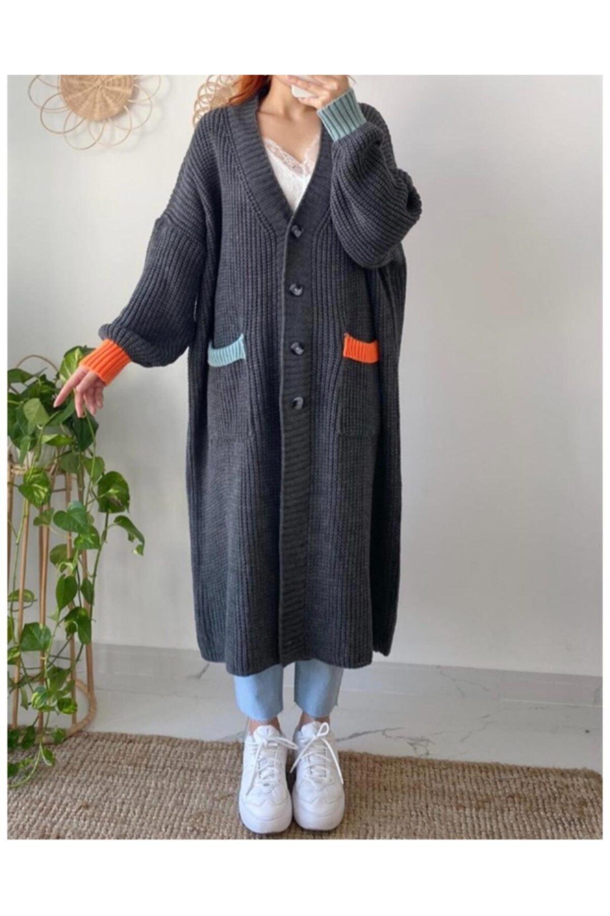 Maystore Kadın Gri Renk Detaylı Kalın Örme Uzun Triko Hırka 1