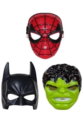 RoseRoi 3'lü Maske Set Spiderman Örümcek Adam + Batman + Hulk Maske