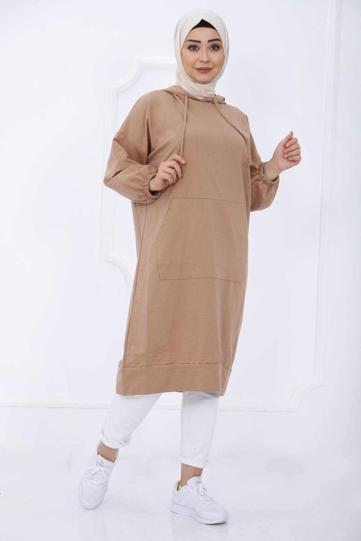 kombinal Kadın Kahverengi Cep Detaylı Kapüşonlu Sweat Tunik 2345 1 1