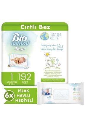 Sleepy Bio Natural Bebek Bezi 1 Numara Yenidoğan 192 Adet + 6x40 Bio Natural Islak Havlu