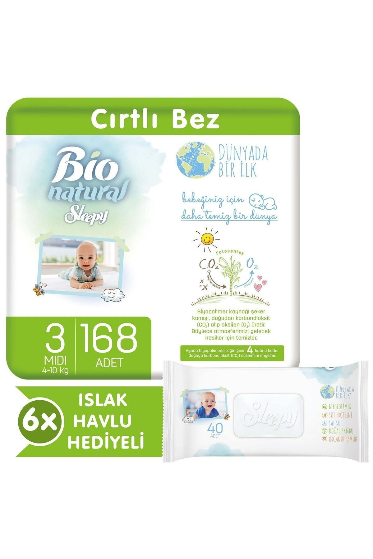 Sleepy Bio Natural Bebek Bezi 3 Numara Midi 168 Adet + 6x40 Bio Natural Islak Havlu 1