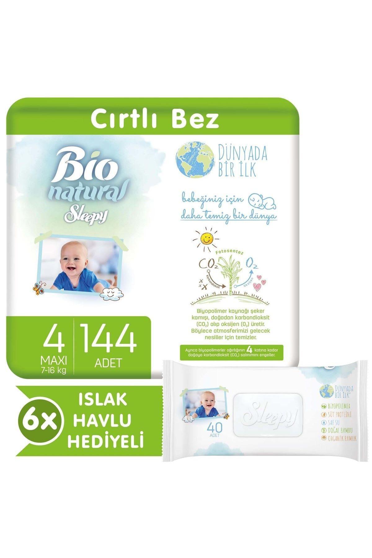 Sleepy Bio Natural Bebek Bezi 4 Numara Maxi 144 Adet + 6x40 Bio Natural Islak Havlu 1