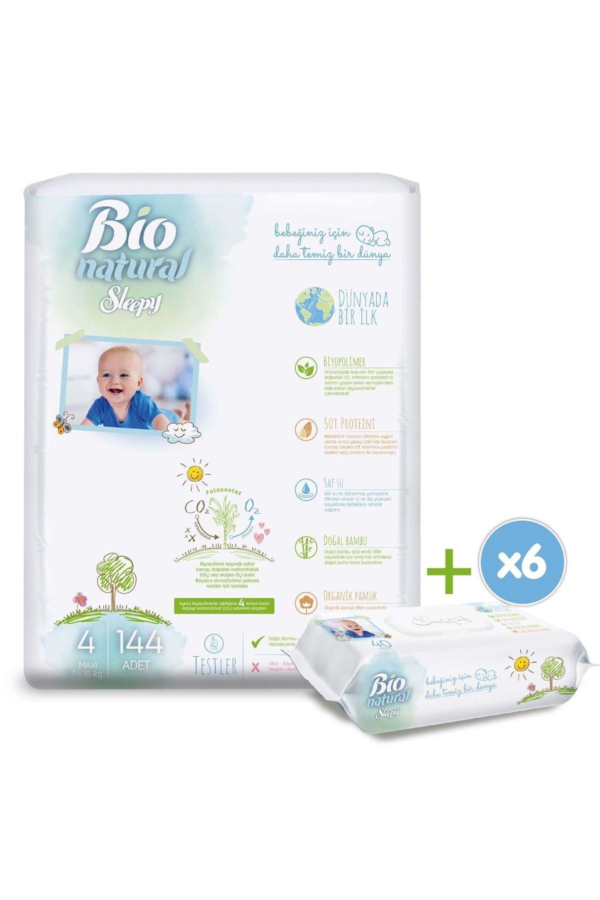 Sleepy Bio Natural Bebek Bezi 4 Numara Maxi 144 Adet + 6x40 Bio Natural Islak Havlu 2