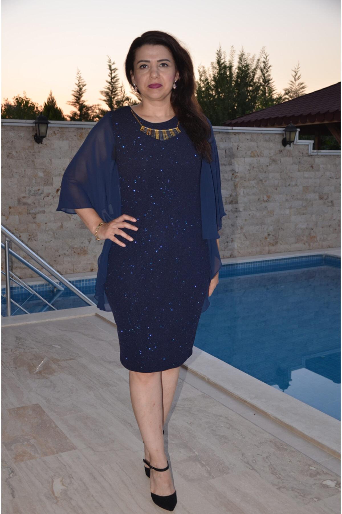 zeynep Kadın Lacivert Şifon Detaylı Simli Elbise 1