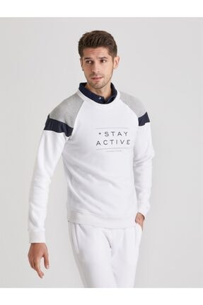 Dufy Erkek Beyaz Baskılı  Slım Fıt Sweatshirt