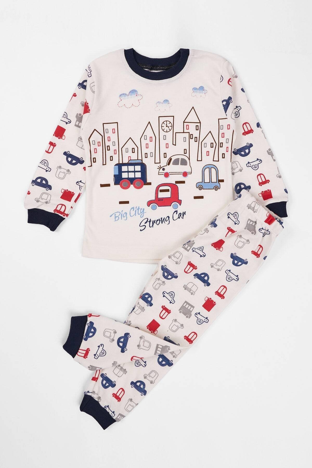 zepkids Çocuk Pijama Takımı Araba Baskılı 1-3 Yaş Lacivert 1