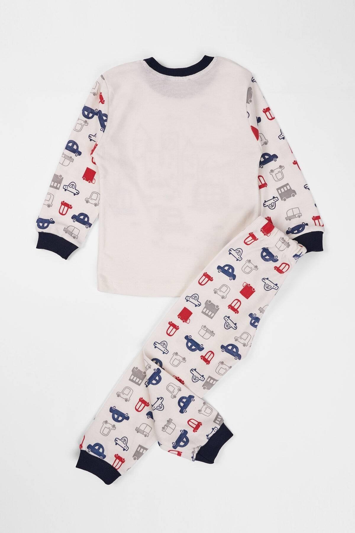 zepkids Çocuk Pijama Takımı Araba Baskılı 1-3 Yaş Lacivert 2