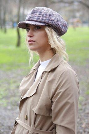 Bay Şapkacı Ekose Kadın Kaptan Şapka