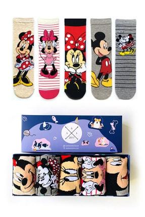 Socks Stations Unisex Renkli 5'li Mickey ve Minnie Mouse Çorap Kutusu